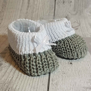 Unisex grey white Knitted Booties Newborn to 6 months
