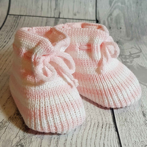 Baby Girl Pink Striped Knitted Bootees