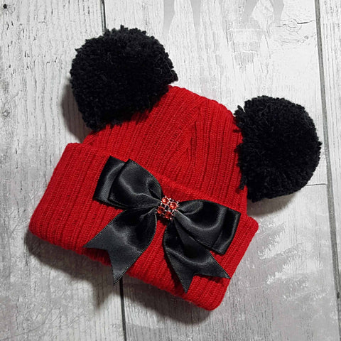 Baby girl double Pom hat red black with bow and jewel