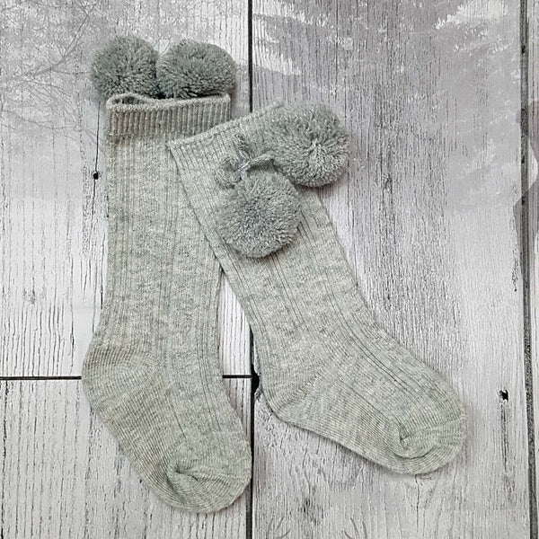 baby socks grey with pom poms