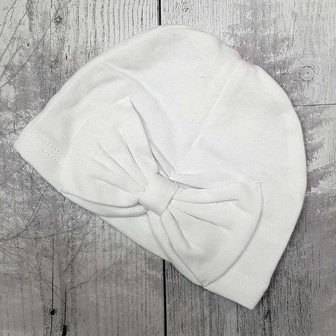 Baby Turban Hat with Bow -white - Newborn to 6 month