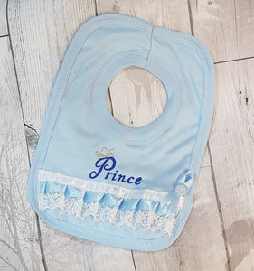 baby boy bib with prince embroidery, christening, baptism
