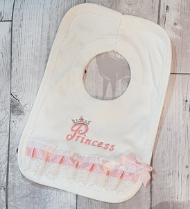 baby girl fancy princess bib white and pink