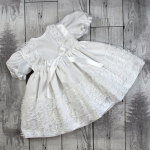Baby Girl Frilly Dress with White Bow and Lace