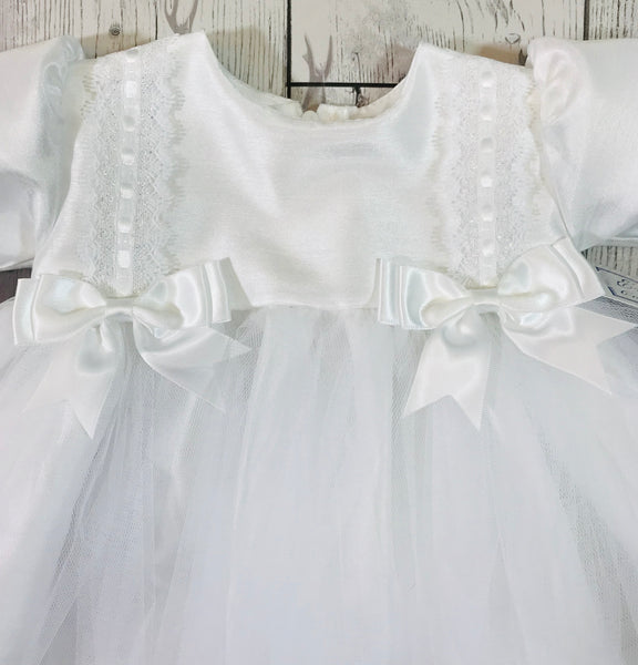 Baby Girls White Double Bow Christening Baptism Dress