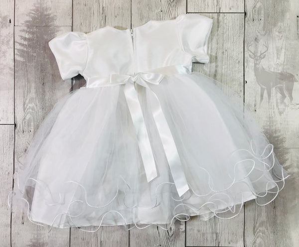 Baby Girls White Christening Baptism Dress with diamante buckle