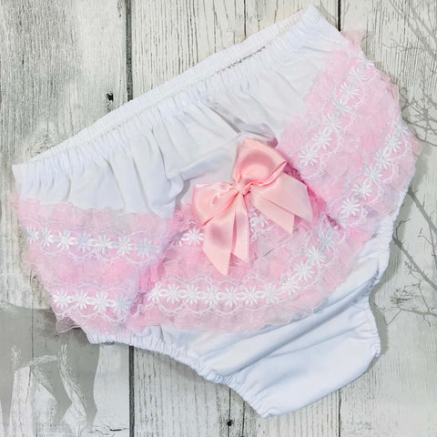 baby girl frilly nappy cover pants knickers white pink