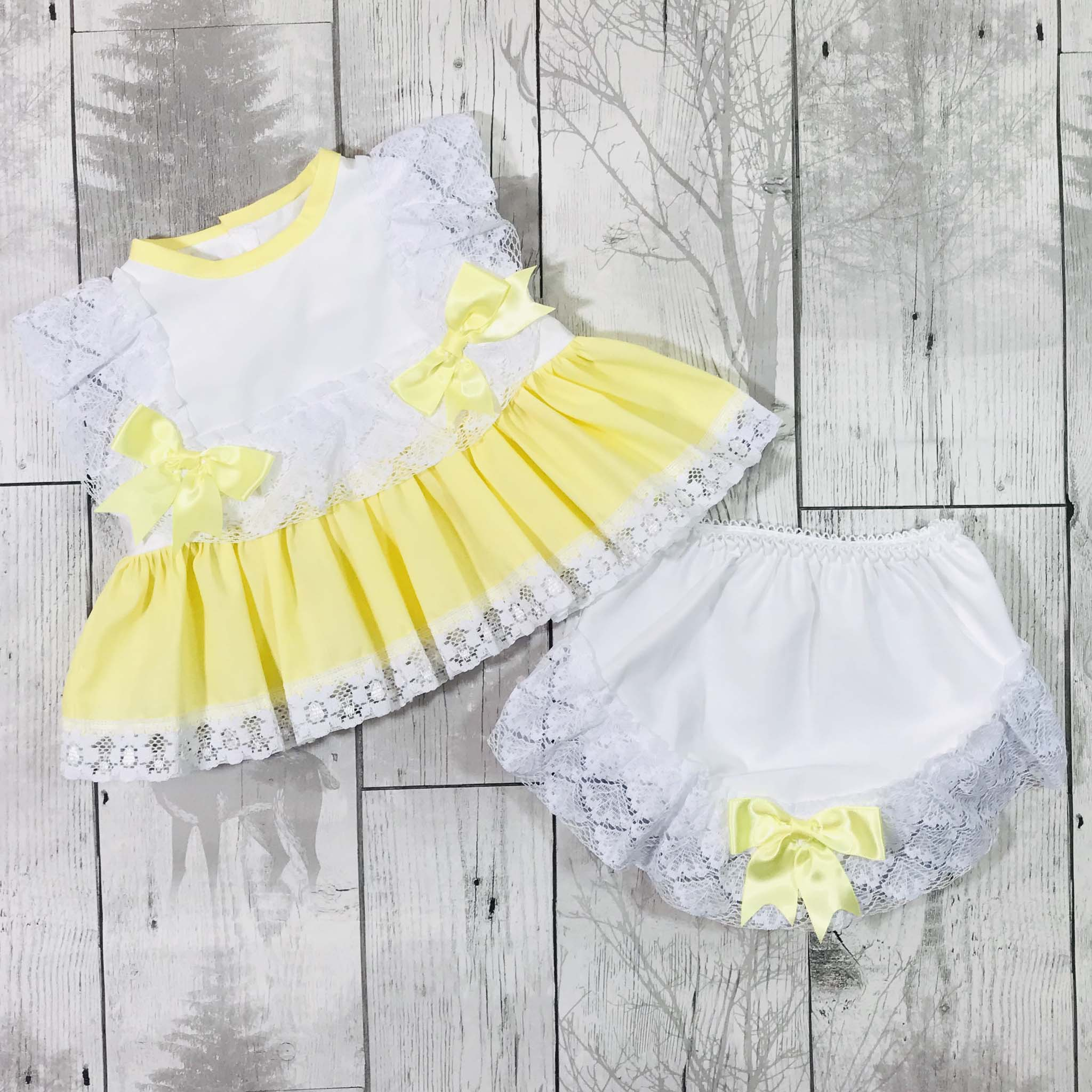 baby girl easter lemon yellow dress outfit frilly romany gypsy