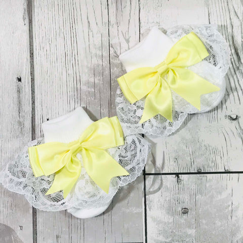 baby girl fancy frilly ankle socks yellow