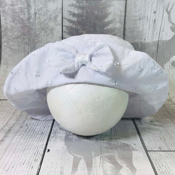 Baby Girls Broderie Anglaise  Summer Hat with Bow White