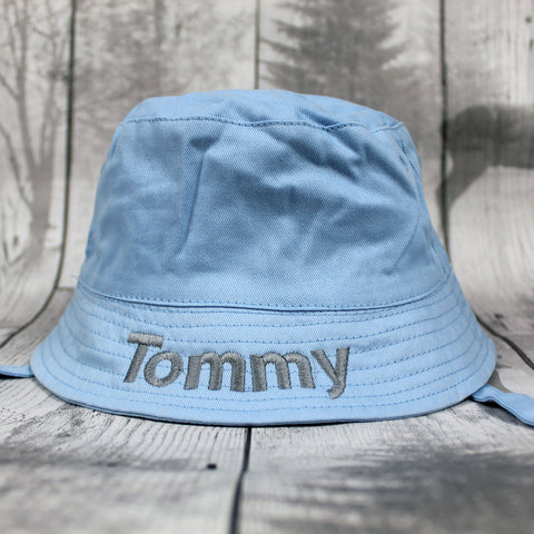 Personalised Baby Boy Sunhat with chin strap -Blue Bucket Hat