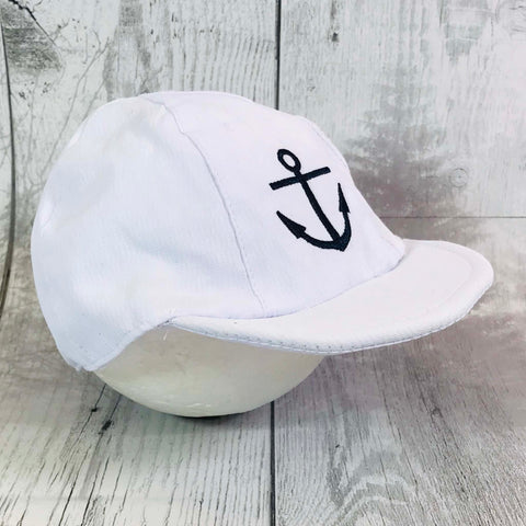 baby boys white sun hat with anchor sailor detail