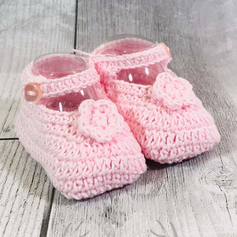 baby girl crochet booties pink