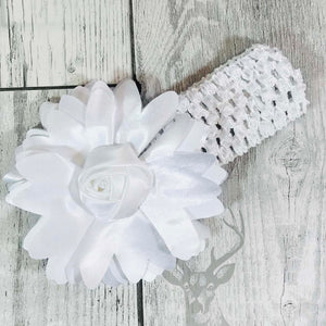 baby girl white headband with flower