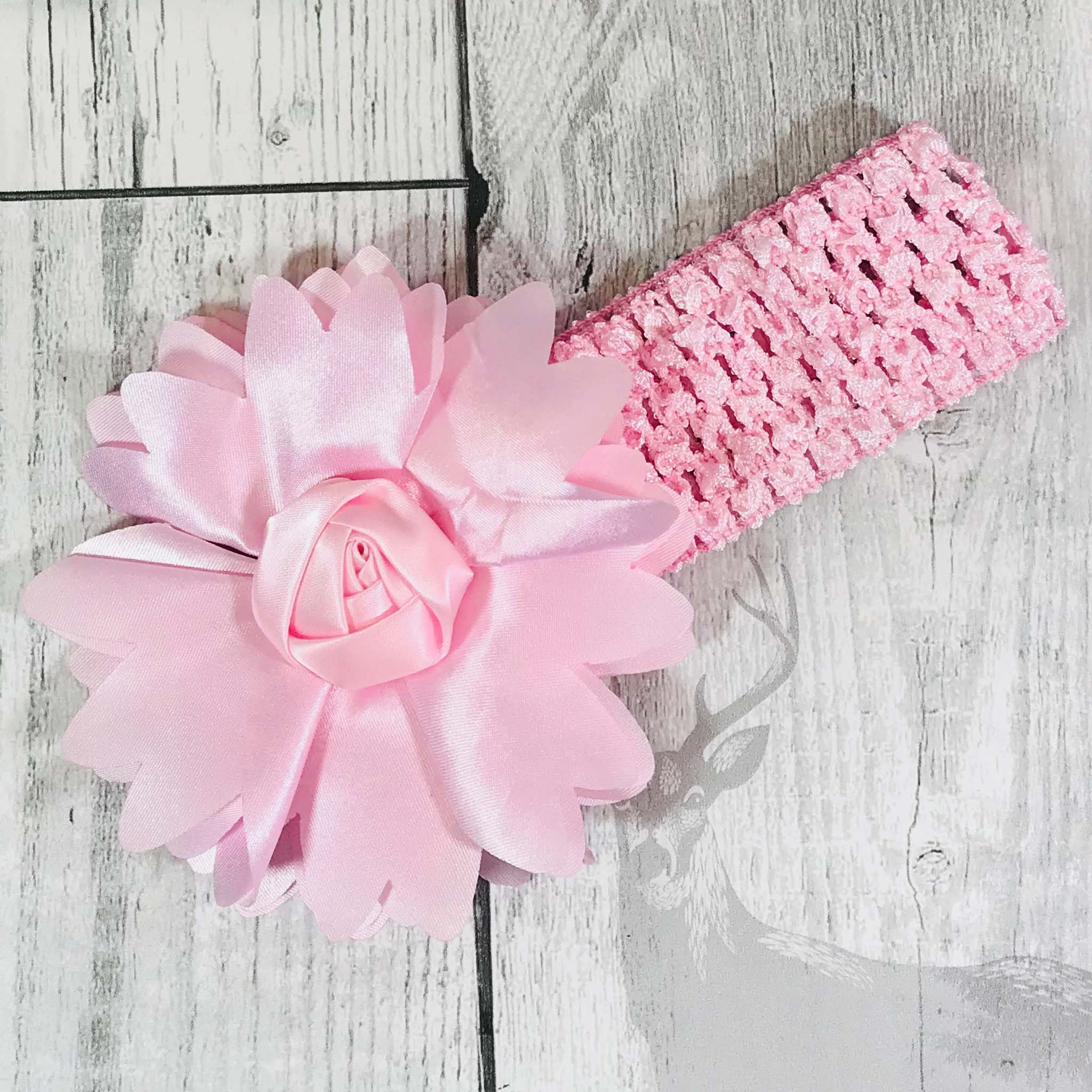 Pink crochet Baby Girl headband with Large Flower