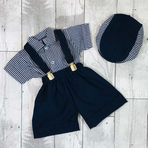 baby boys peaky blinder outfit hat shirt shorts and braces