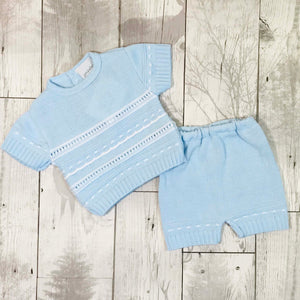 baby boy knitwear knitted top and shorts jam pants blue