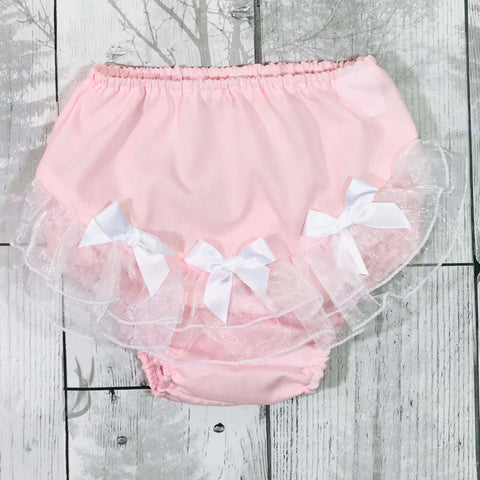 Baby girls pink cotton frilly jam pants / knickers / nappy covers