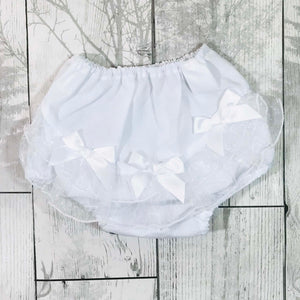baby girls white frilly knickers jam pants nappy covers