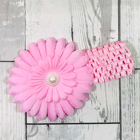 baby girl pink headband with large flower