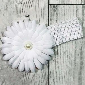 baby girl white headband with large white flower