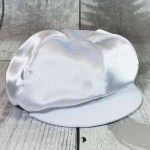 Baby Boys Christening Baker Hat White Satin / Baptism Hat Cap