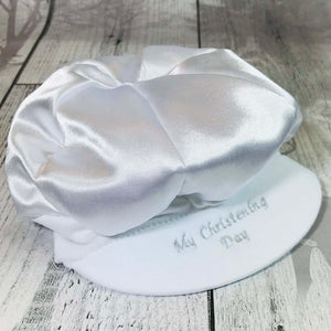 baby boys christening cap hat white satin baptism occasion