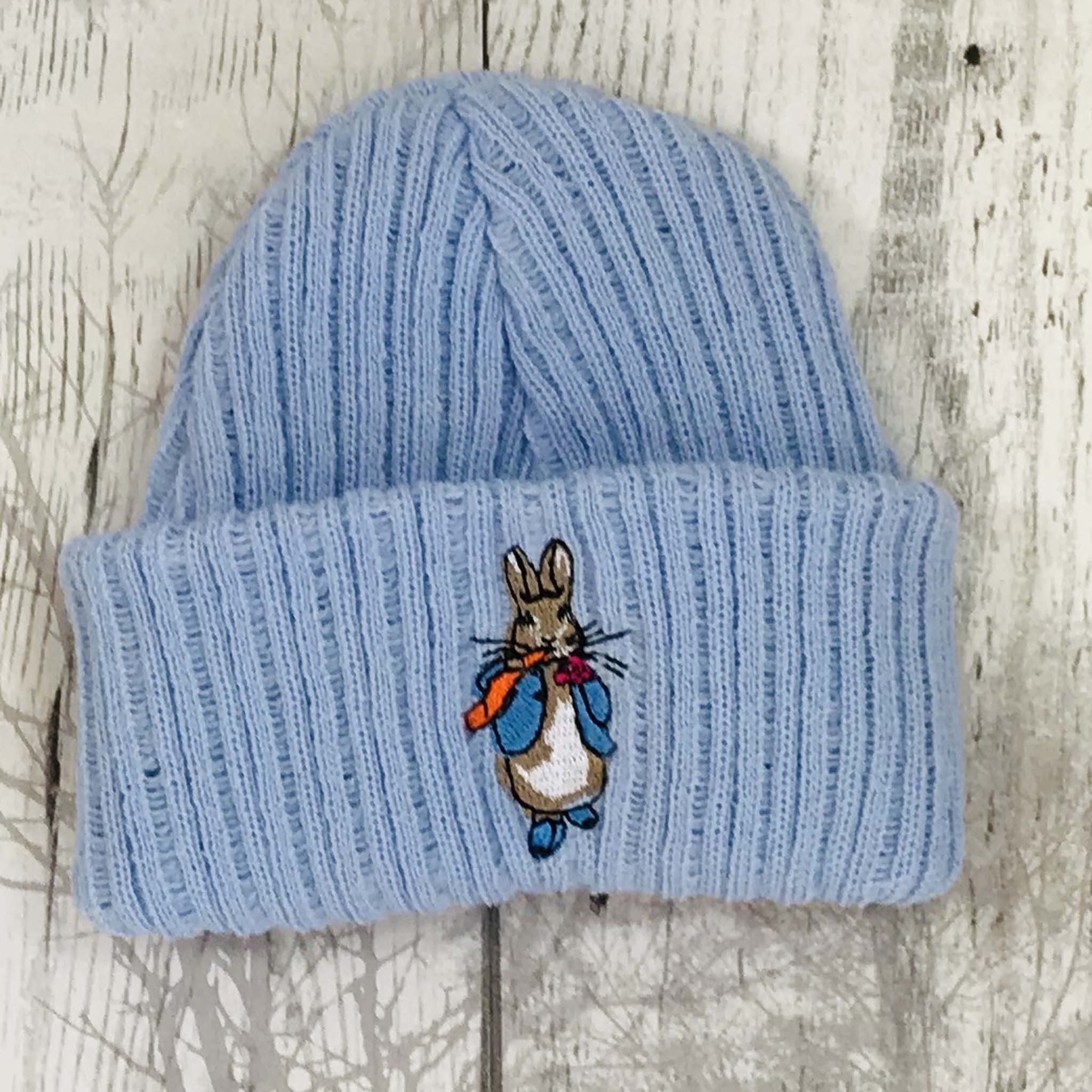 Baby Boys Embroidered Knit Baby Booties Socks Blue Bunny Rabbit