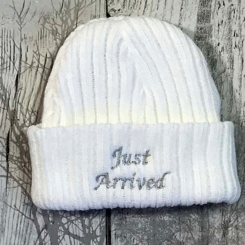 newborn baby knitted hat cap with just arrived embroidery gift baby shower