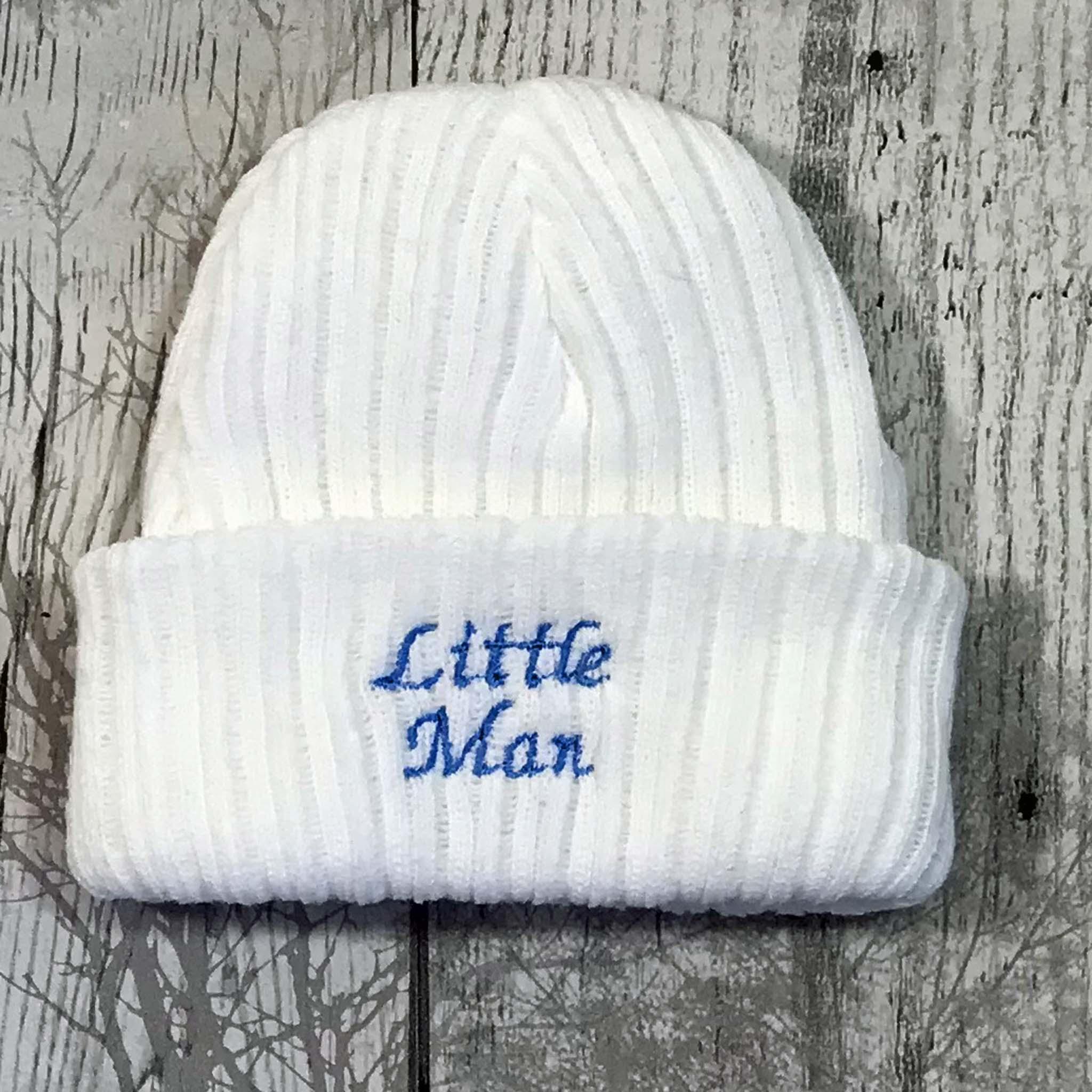 baby boy little man knitted hat cap hospital beanie