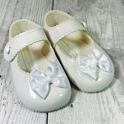 baby girl white patent pram shoes with bow