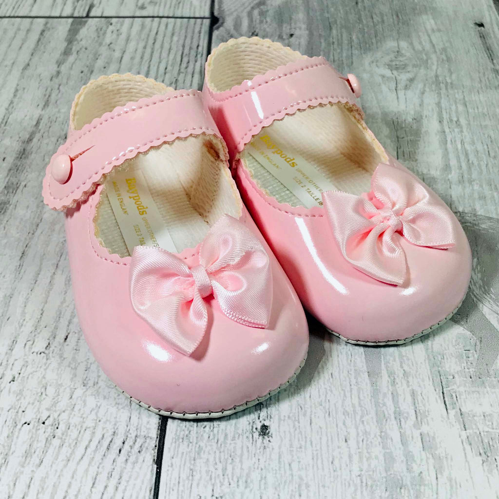 Baby Girl Pink Patent Pram Shoes with