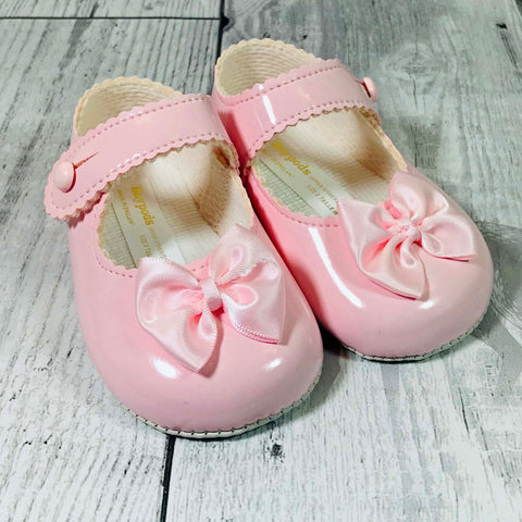 baby girl soft sole pram shoes with bow