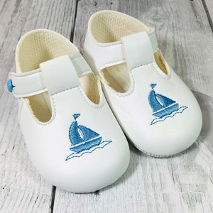 baby boy white pram shoes with t bat, soft sole and yacht