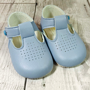 baby boy blue soft sole pram shoes with t bar