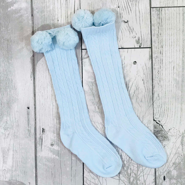 baby blue boys spanish style pom pom socks