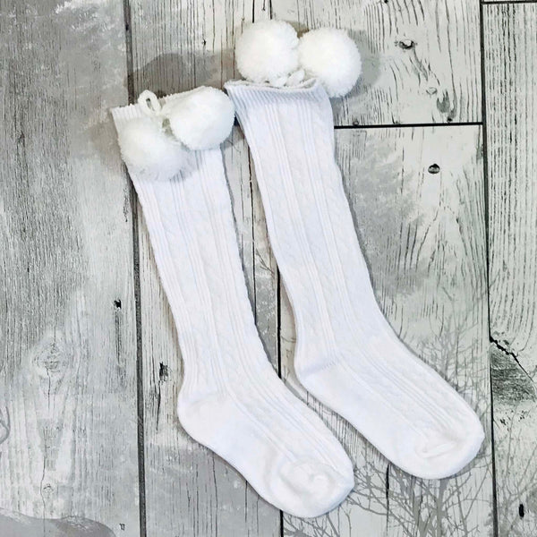 baby white pom pom socks knee high spanish style white