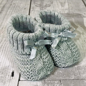 Silver Grey Unisex Baby  Knitted Booties with  satin bow