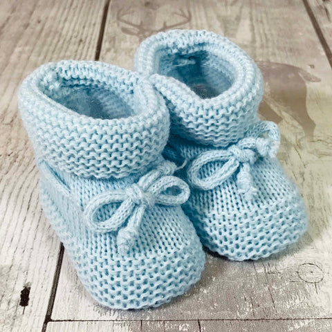 baby boy blue knitted booties