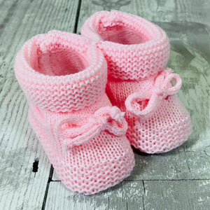 baby pink knitted baby booties girl