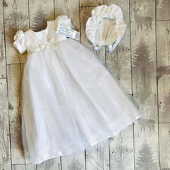 baby girl long white christening gown with bonnet