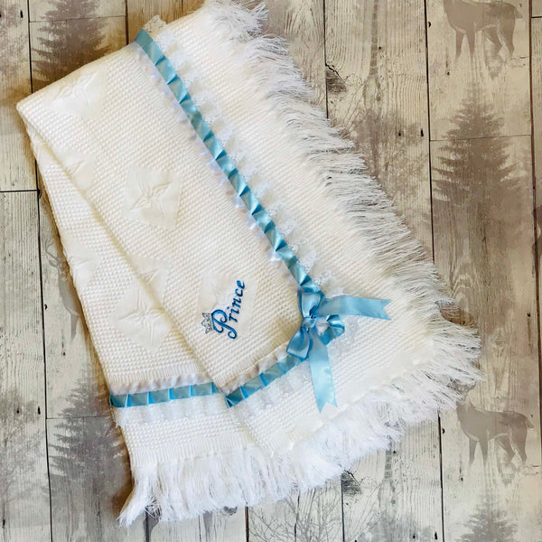 Baby Boy's Prince White Luxury Shawl - Can be personalised-Ideal for Christening