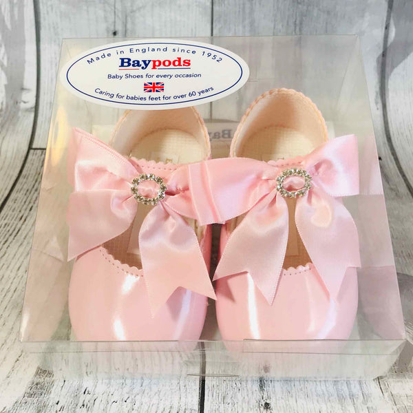 Baby Girl Pram Shoes - Large Pink Satin Bow with Diamante