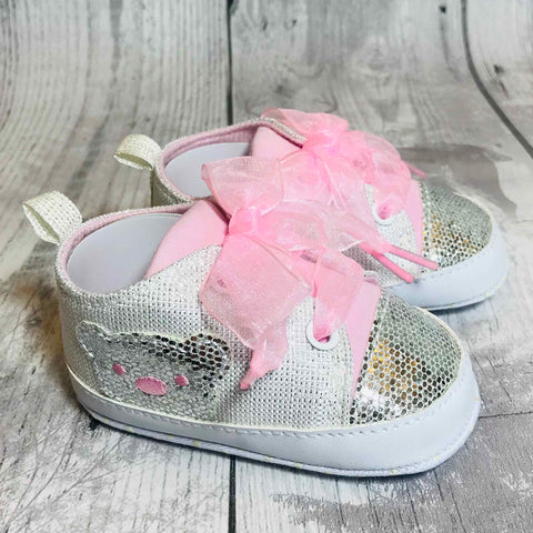 baby trainers - silver and white sparkle