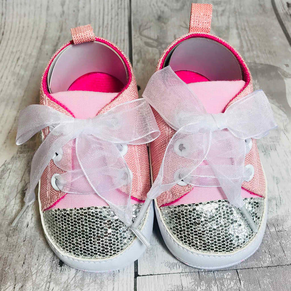 Baby Trainer Crib Shoes - Pink Sparkle