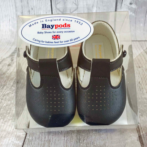 Navy Pram Shoes with Soft Sole and T Bar