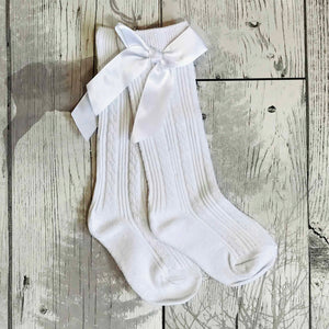 LADIES HIGH QUALITY TWO TONE GREY RUFFLE TOP SATIN BOW KNEE HIGH SOCKS