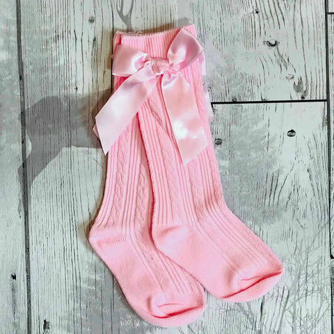 girls pinks socks with bow