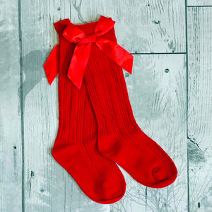 girls red socks with bow