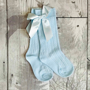 girls blue socks with bow